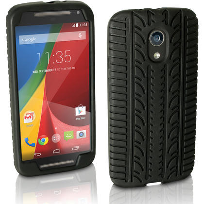 iGadgitz Black Tyre Tread Silicone Rubber Gel Skin Case Cover for Motorola Moto G 2nd Generation 2014 XT1068 (G2) + Screen Protector Thumbnail 1