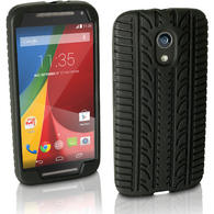 iGadgitz Black Tyre Tread Silicone Rubber Gel Skin Case Cover for Motorola Moto G 2nd Generation 2014 XT1068 (G2) + Screen Protector