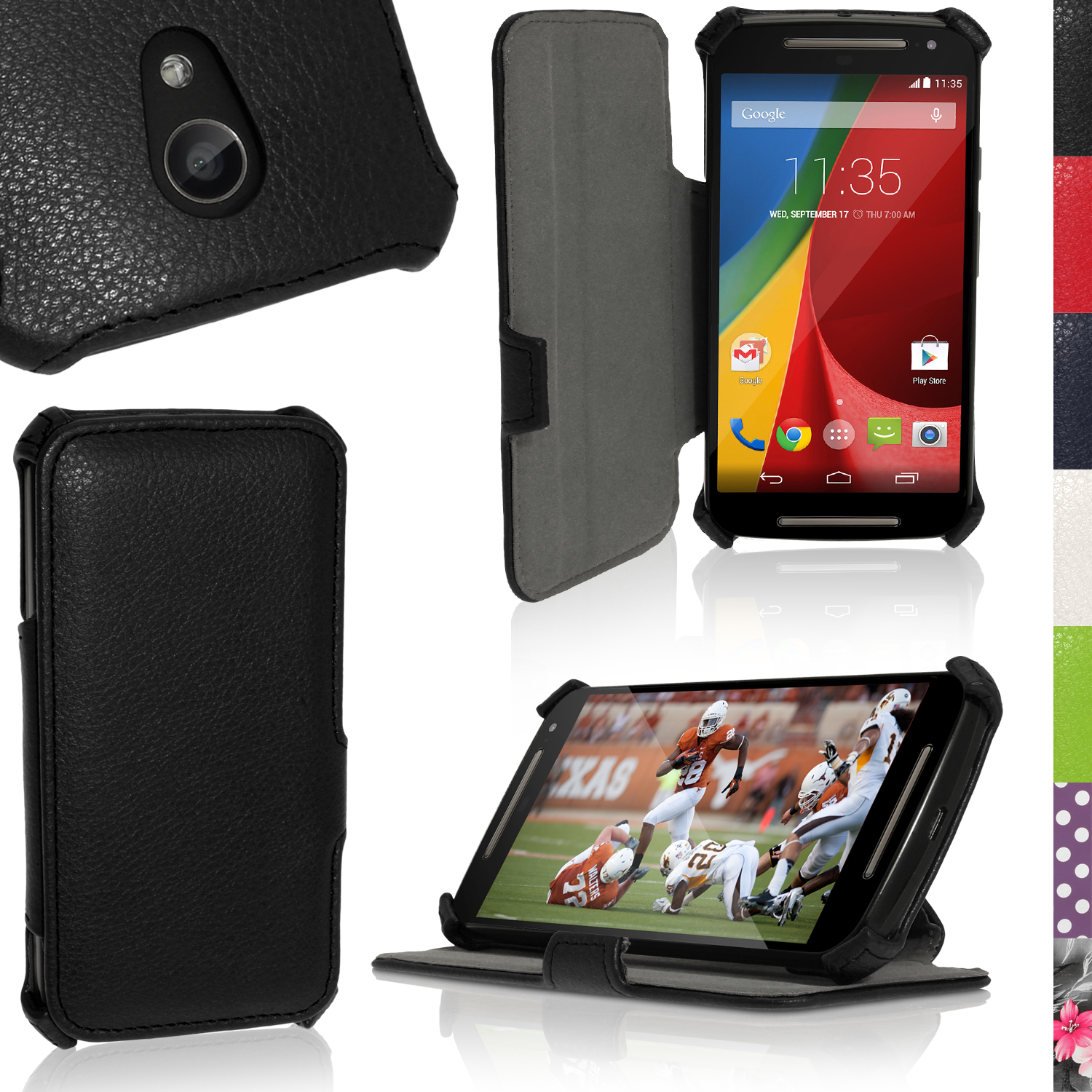 promo code f2ed9 b709d Details about PU Leather Skin Stand Case for Motorola Moto G 2nd Gen XT1068  Flip Book Cover