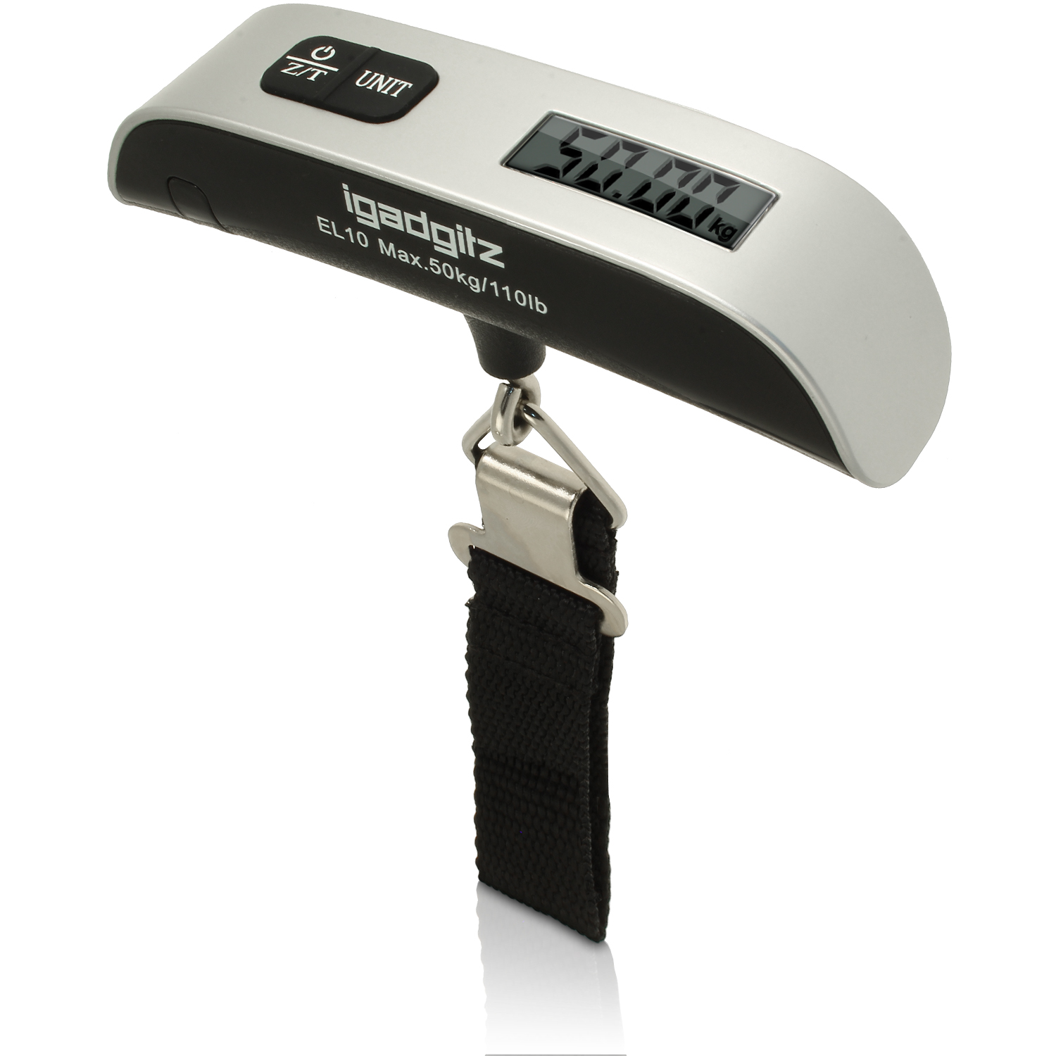Electronic Portable Luggage Scale (Model EL10) Silver & Black ABS With Nylon Strap Including Battery
