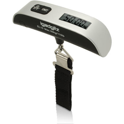Electronic Portable Luggage Scale (Model EL10) Silver & Black ABS With Nylon Strap Including Battery Thumbnail 1