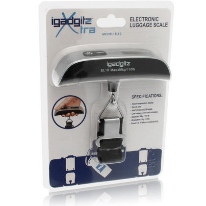 Electronic Portable Luggage Scale (Model EL10) Silver & Black ABS With Nylon Strap Including Battery Thumbnail 6