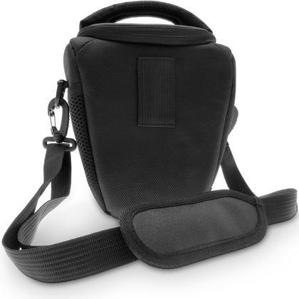 iGadgitz Small Black Water-Resistant SLR DSLR Bridge Camera Holster Travel Bag Case with Shoulder Strap Thumbnail 2