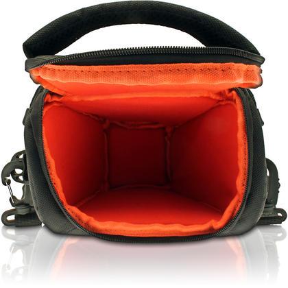 iGadgitz Small Black Water-Resistant SLR DSLR Bridge Camera Holster Travel Bag Case with Shoulder Strap Thumbnail 4