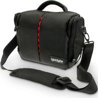 iGadgitz Medium Black Water Resistant SLR DSLR Bridge Messenger Camera Bag with Rain Cover + Shoulder & Waist Strap