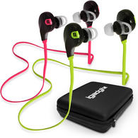 iGadgitz IGX-450S Wireless Bluetooth 4.0 Stereo In-ear Earphones with Mic for Hands free + Case & Detachable Ear Hooks