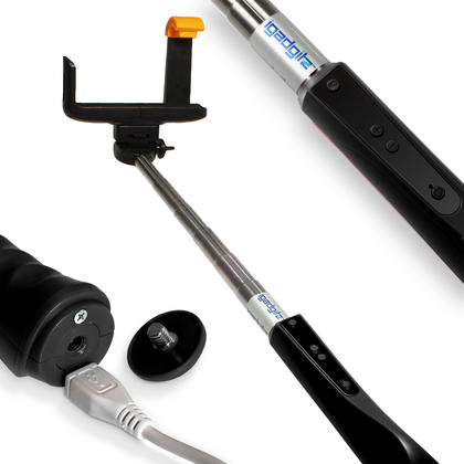 iGadgitz 2nd Generation Selfie Stick with Built-in Bluetooth Remote Shutter & Zoom Control for Samsung Galaxy S3 & S4 Thumbnail 1