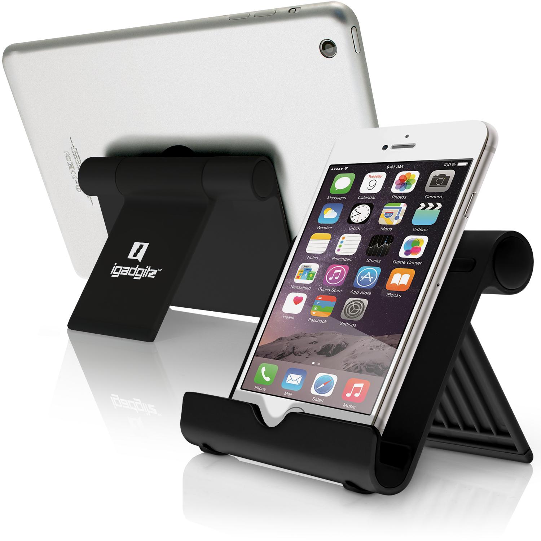 iGadgitz Black Aluminium Adjustable Tablet & Smartphone Holder Stand (iPhones iPad Motorola Samsung Sony Xperia HTC etc)