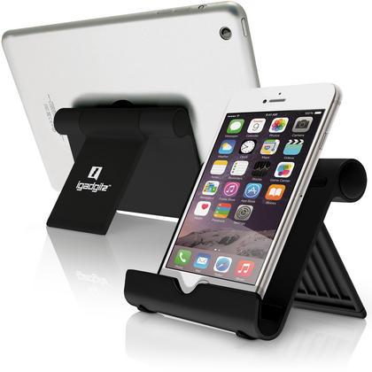 iGadgitz Black Aluminium Adjustable Tablet & Smartphone Holder Stand (iPhones iPad Motorola Samsung Sony Xperia HTC etc) Thumbnail 1