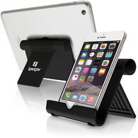 iGadgitz Black Aluminium Adjustable Tablet & Smartphone Holder Stand (iPhones iPad Motorola Samsung Sony Xperia HTC etc)