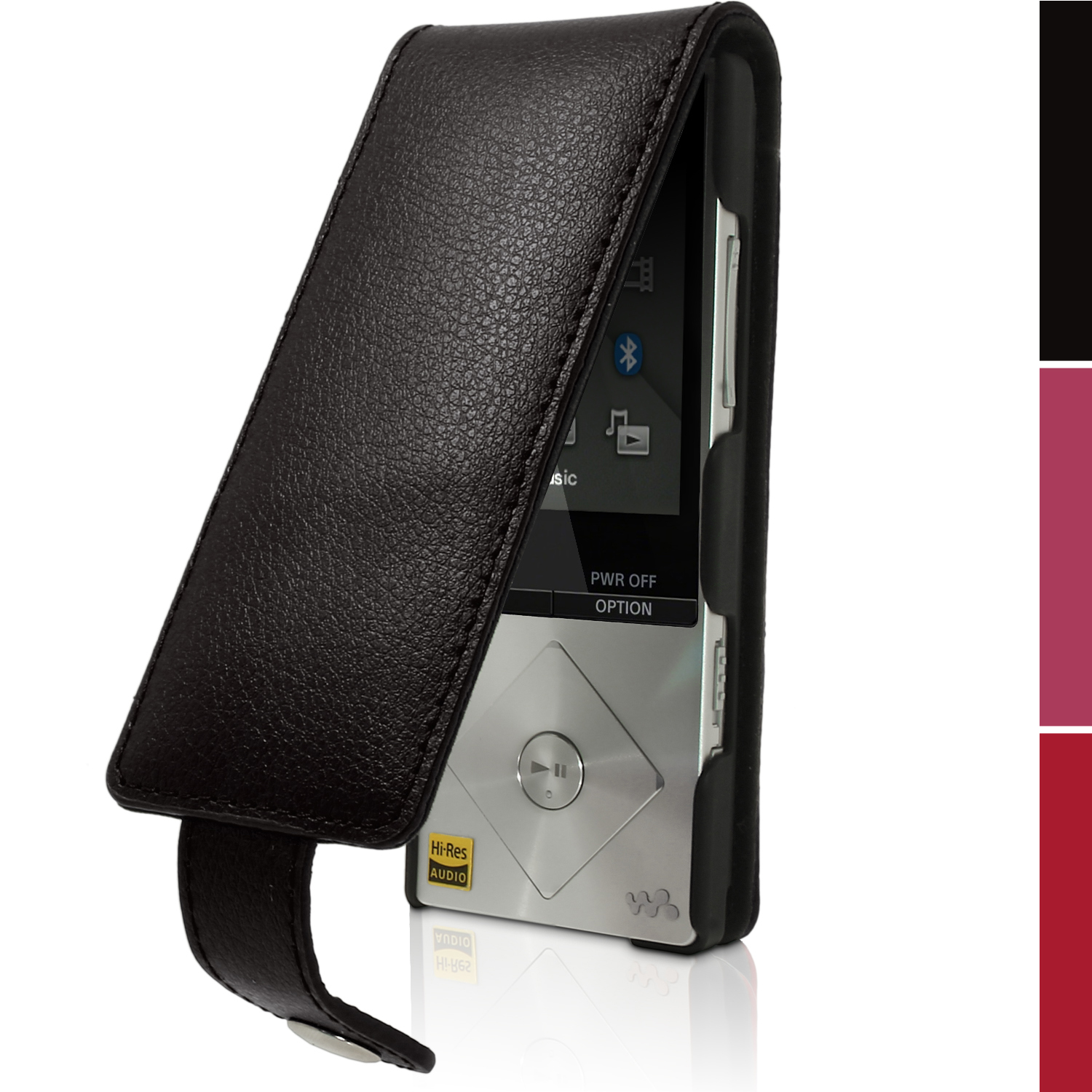 iGadgitz Leather Flip Case Cover for Sony Walkman NWZ-A15 NWZ-A17 NW-A25 NW-A27 + Screen Protector