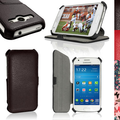 iGadgitz PU Leather Case Cover for Samsung Galaxy Ace 4 SM-GT357FZ with Multi-Angle Viewing Stand + Screen Protector Thumbnail 1