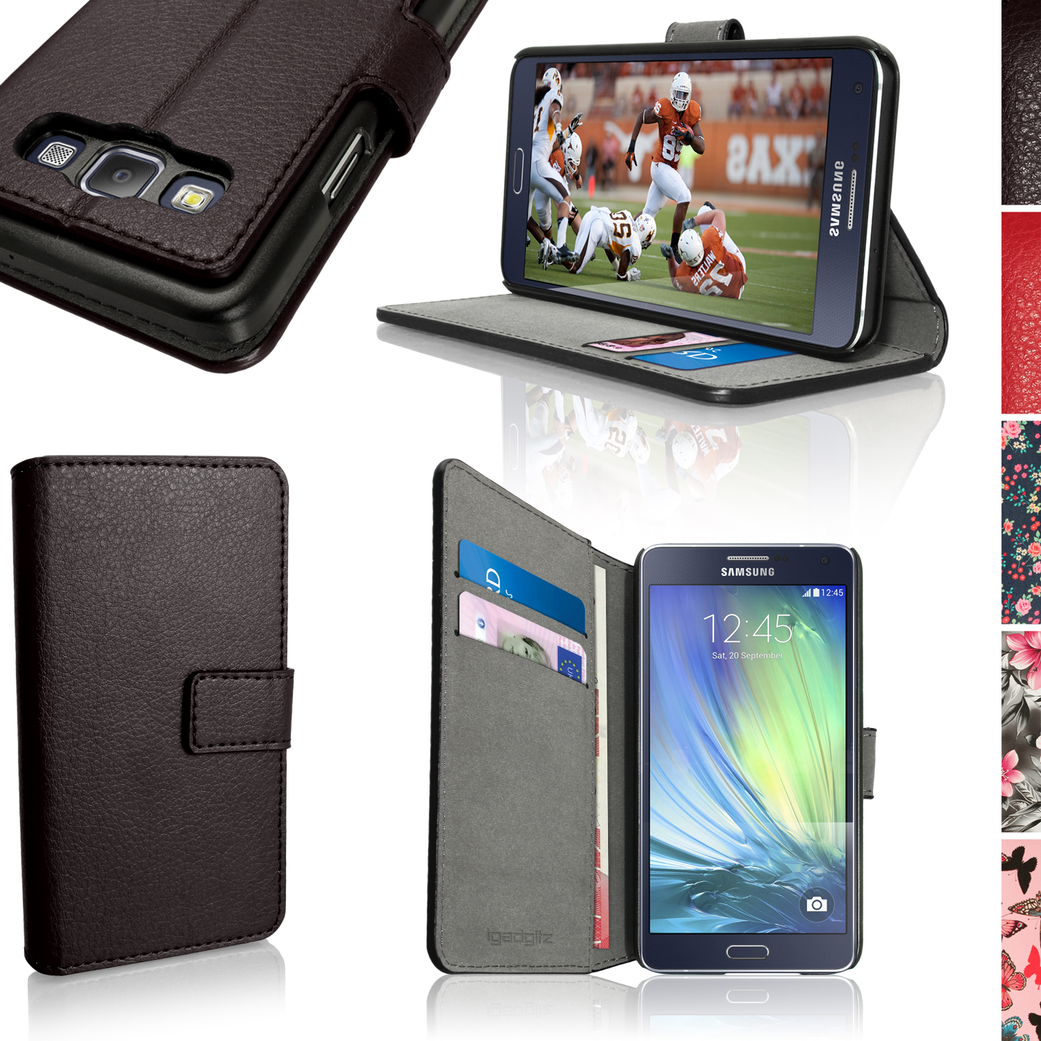iGadgitz Wallet Flip PU Leather Case for Samsung Galaxy A3 + Card Slots + Multi-Angle Viewing Stand + Magnetic Closure