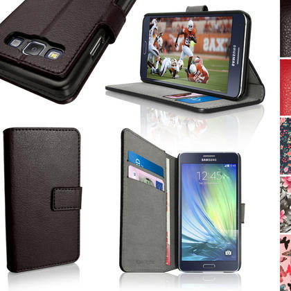 iGadgitz Wallet Flip PU Leather Case for Samsung Galaxy A3 + Card Slots + Multi-Angle Viewing Stand + Magnetic Closure Thumbnail 1