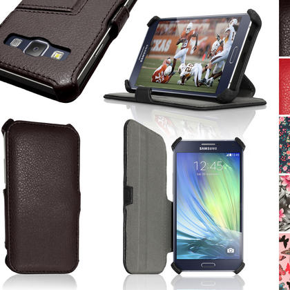 iGadgitz Premium Folio PU Leather Case Cover for Samsung Galaxy A3 + Viewing Stand + Sleep Wake + Screen Protector Thumbnail 1