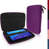 "iGadgitz Purple EVA Hard Carry Case With Shoulder Strap for Sony Xperia Z4 SGP771 10.1"" Tablet Bag"