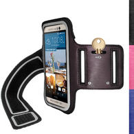 iGadgitz Reflective Anti-Slip Sports Jogging Gym Armband for HTC One M9 (2015) with Key Slot