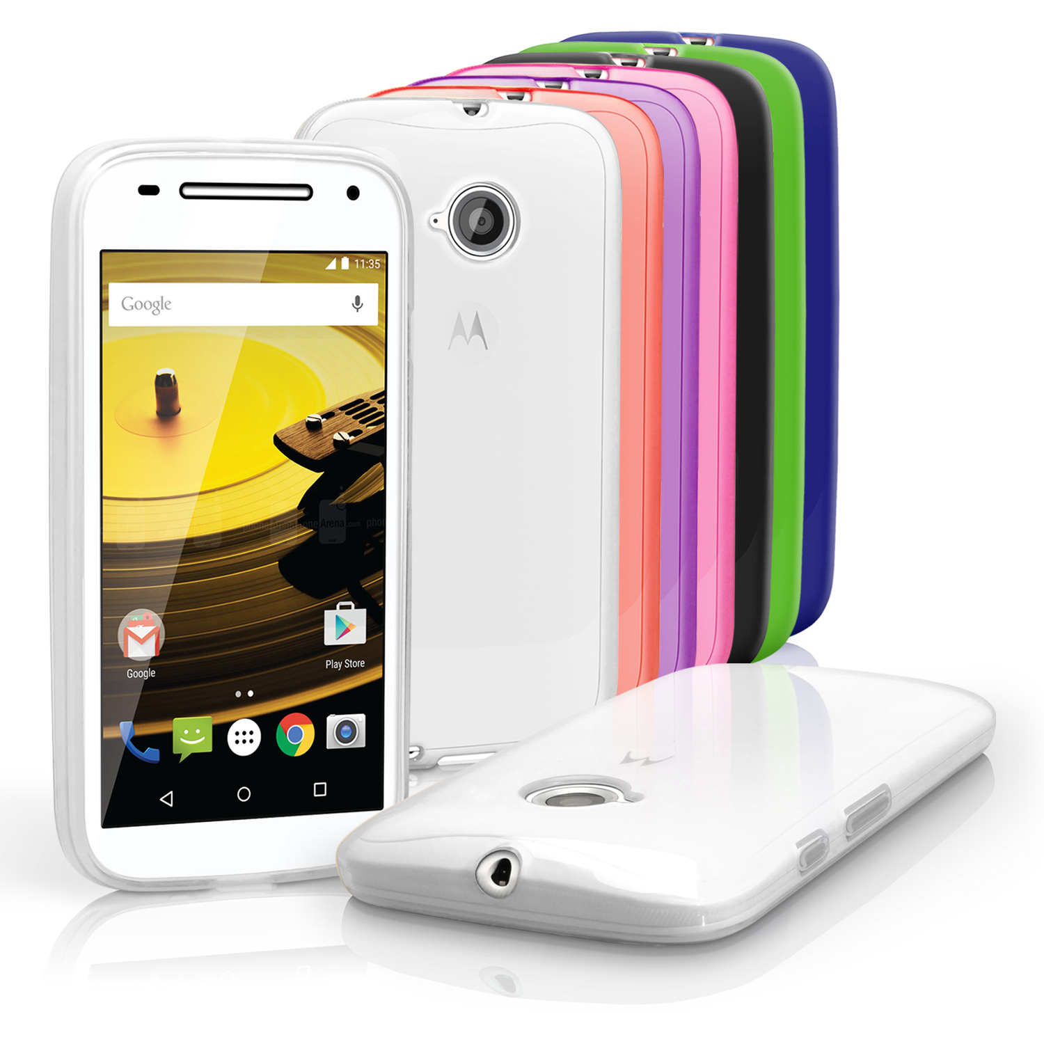 iGadgitz Glossy TPU Gel Skin Case Cover for Motorola Moto E 2nd Generation 2015 XT1524 + Screen Protector