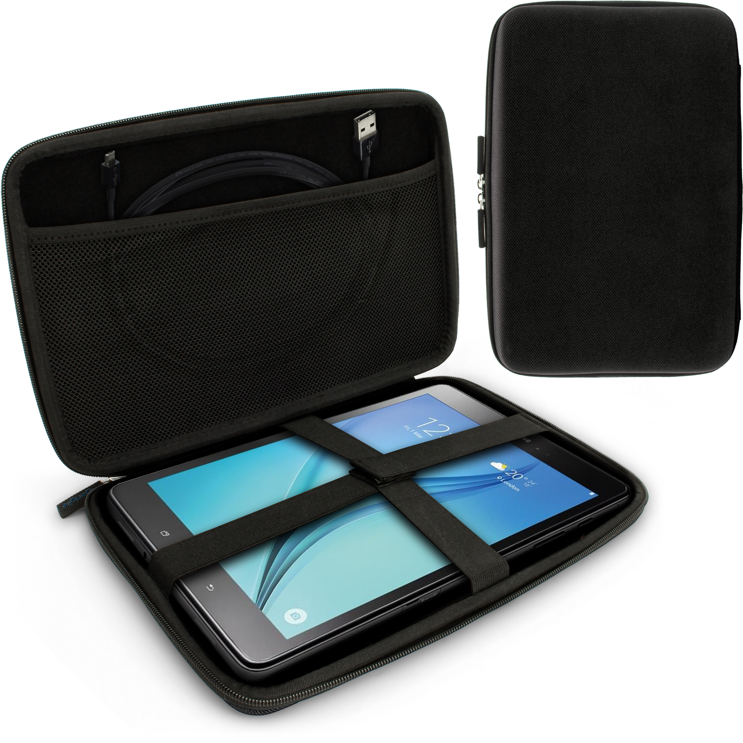 "iGadgitz Black EVA Hard Carry Case for Samsung Galaxy Tab A 9.7"" SM-T550 Sleeve Cover Pouch"