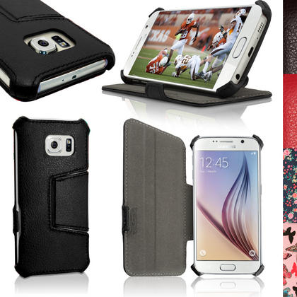 iGadgitz Premium Folio PU Leather Case Cover for Samsung Galaxy S6 SM-G920F + Viewing Stand + Screen Protector Thumbnail 1