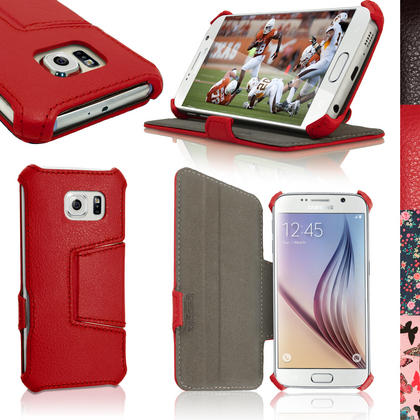 iGadgitz Premium Folio PU Leather Case Cover for Samsung Galaxy S6 SM-G920F + Viewing Stand + Screen Protector Thumbnail 2