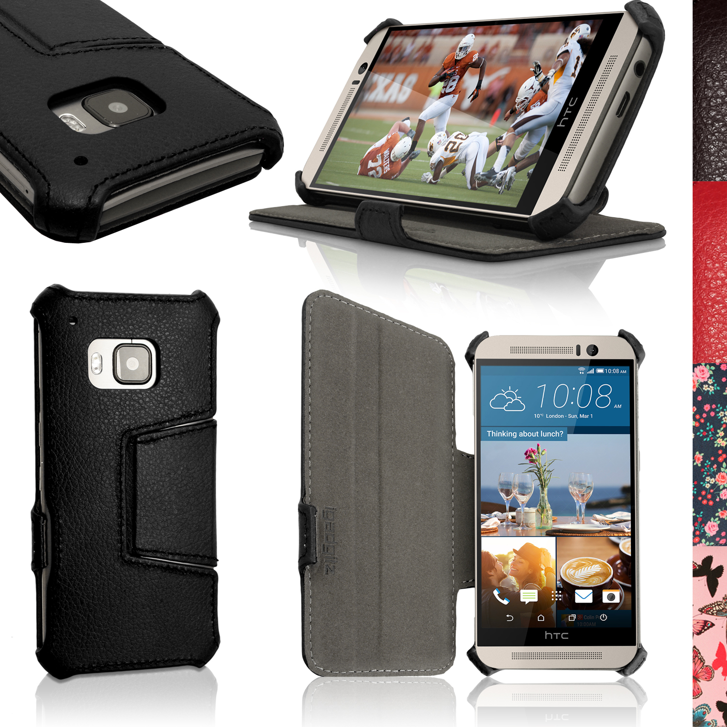 iGadgitz Premium Folio PU Leather Case Cover for HTC One M9 (2015) + Sleep Wake + Viewing Stand + Screen Protector