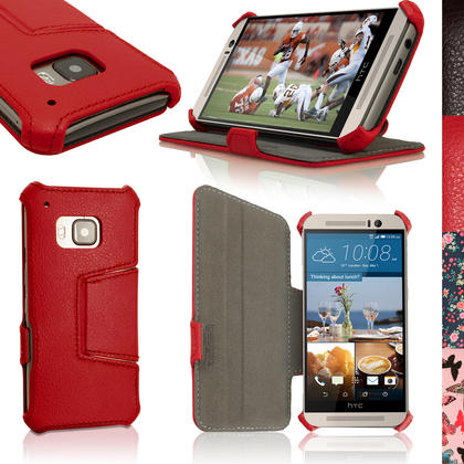 iGadgitz Premium Folio PU Leather Case Cover for HTC One M9 (2015) + Sleep Wake + Viewing Stand + Screen Protector Thumbnail 2