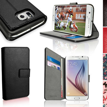 iGadgitz Wallet Flip PU Leather Case Cover for Samsung Galaxy S6 SM-G920 + Stand + Magnetic Closure + Screen Protector Thumbnail 1