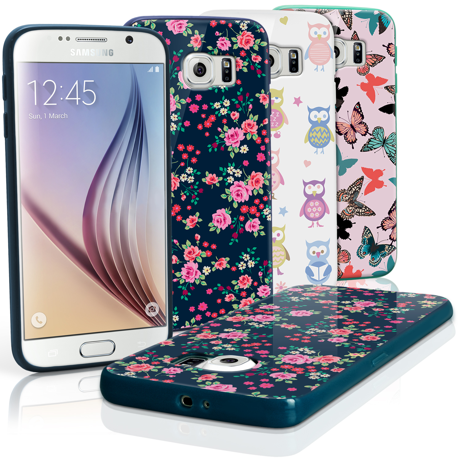 """iGadgitz """"Designer Collection"""" Glossy TPU Gel Skin Case Cover for Samsung Galaxy S6 SM-G920 + Screen Protector"""