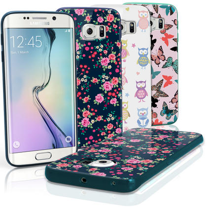 "iGadgitz ""Designer Collection"" Glossy TPU Gel Skin Case Cover for Samsung Galaxy S6 Edge SM-G925F + Screen Protector Thumbnail 1"