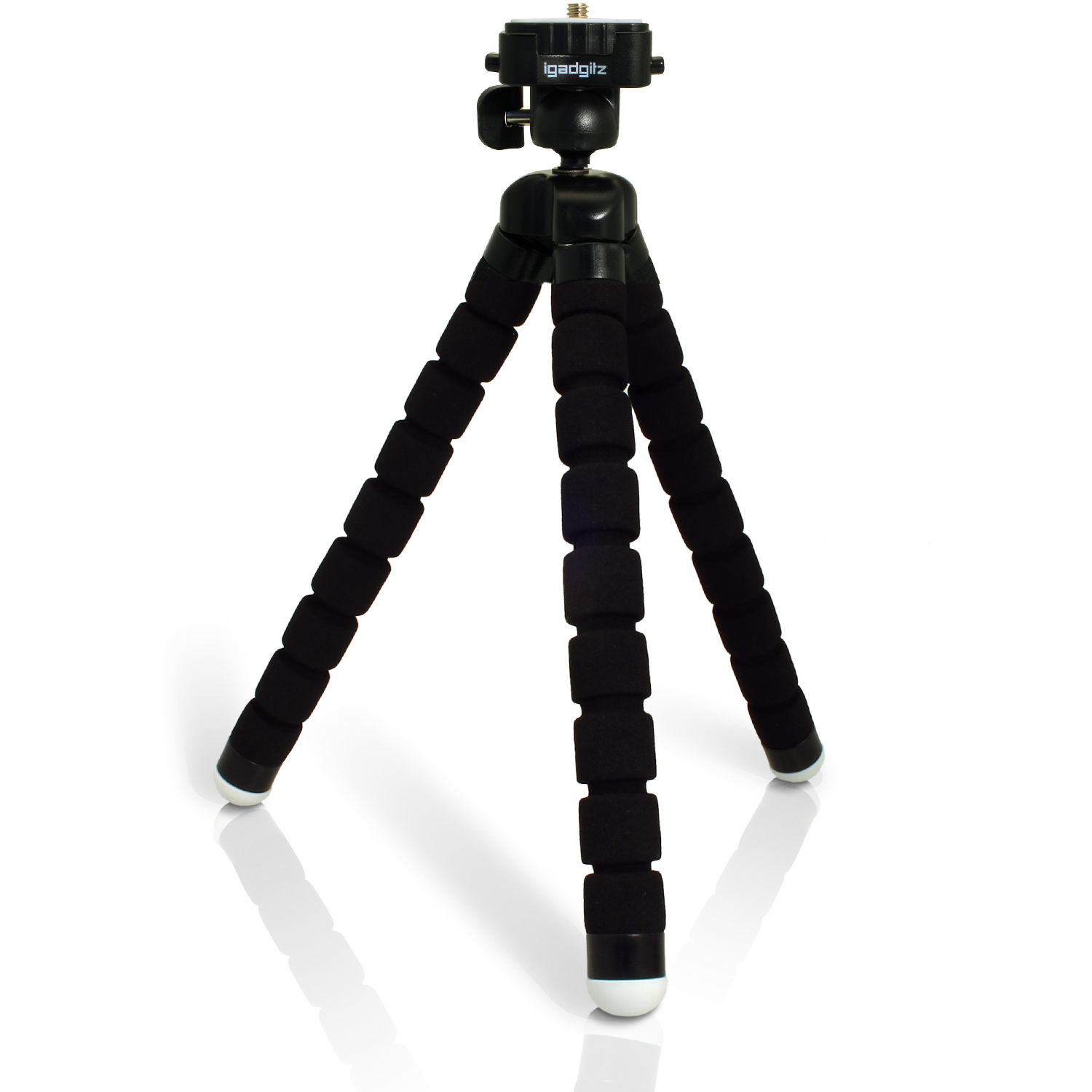 iGadgitz Lightweight Large Universal Flexible Foam Mini Tripod for SLR DSLR Cameras with Quick Release Plate ? Black