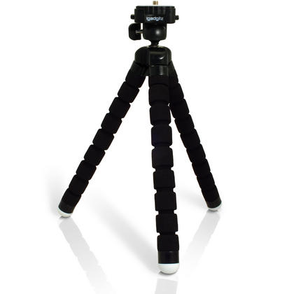 iGadgitz Lightweight Large Universal Flexible Foam Mini Tripod for SLR DSLR Cameras with Quick Release Plate ? Black Thumbnail 1