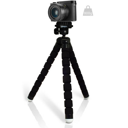 iGadgitz Lightweight Large Universal Flexible Foam Mini Tripod for SLR DSLR Cameras with Quick Release Plate ? Black Thumbnail 3