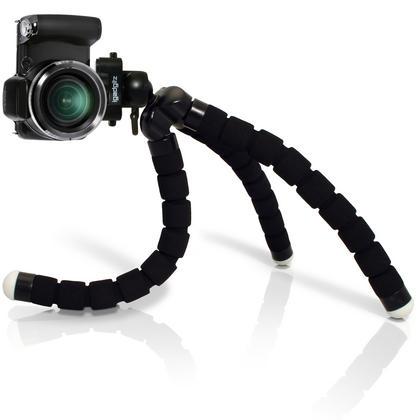 iGadgitz Lightweight Large Universal Flexible Foam Mini Tripod for SLR DSLR Cameras with Quick Release Plate ? Black Thumbnail 4