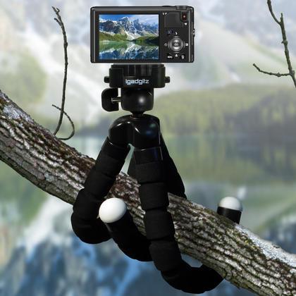 iGadgitz Lightweight Large Universal Flexible Foam Mini Tripod for SLR DSLR Cameras with Quick Release Plate ? Black Thumbnail 6