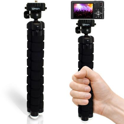 iGadgitz Lightweight Large Universal Flexible Foam Mini Tripod for SLR DSLR Cameras with Quick Release Plate ? Black Thumbnail 7