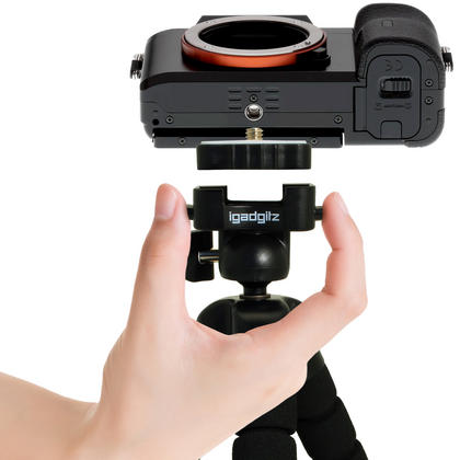 iGadgitz Lightweight Large Universal Flexible Foam Mini Tripod for SLR DSLR Cameras with Quick Release Plate ? Black Thumbnail 8