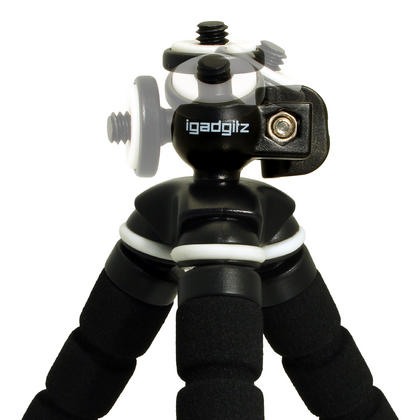 iGadgitz Lightweight Small Universal Flexible Foam Mini Tripod for Compact Cameras ? Black Thumbnail 5
