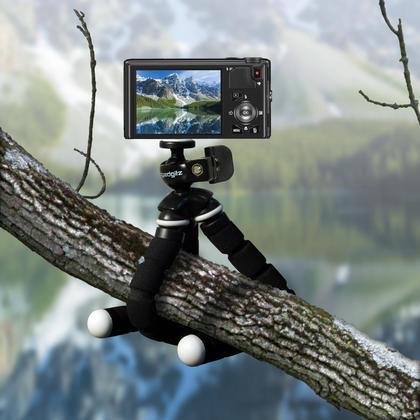 iGadgitz Lightweight Small Universal Flexible Foam Mini Tripod for Compact Cameras ? Black Thumbnail 6