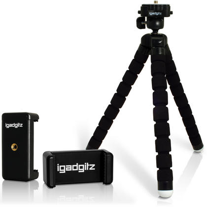 iGadgitz Lightweight Large Universal Flexible Mini Tripod + Phone Holder for SLR DSLR Cameras + quick release - Black Thumbnail 1
