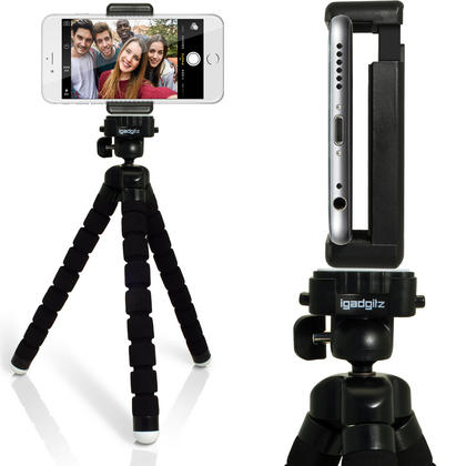iGadgitz Lightweight Large Universal Flexible Mini Tripod + Phone Holder for SLR DSLR Cameras + quick release - Black Thumbnail 4