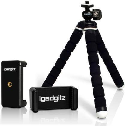 iGadgitz Lightweight Small Universal Flexible Foam Mini Tripod + Smartphone Holder Adapter for Compact Cameras - Black Thumbnail 1