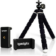 iGadgitz Lightweight Small Universal Flexible Foam Mini Tripod + Smartphone Holder Adapter for Compact Cameras - Black