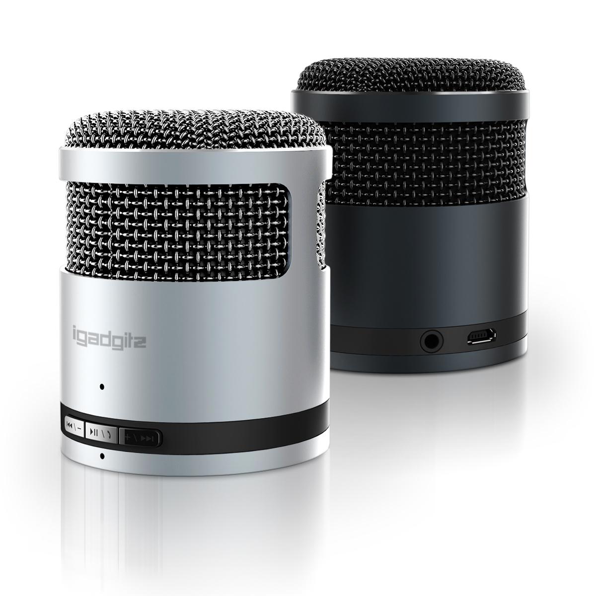 iGadgitz Al Series: 'Mic Idol' Portable Wireless Stereo Bluetooth 3.0 Aluminium Travel Speaker (3W Power with Rich Bass)