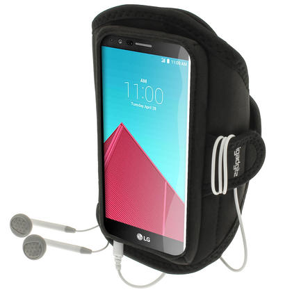 iGadgitz Water Resistant Black Sports Jogging Gym Armband for LG G4 H815 (2015) Thumbnail 1