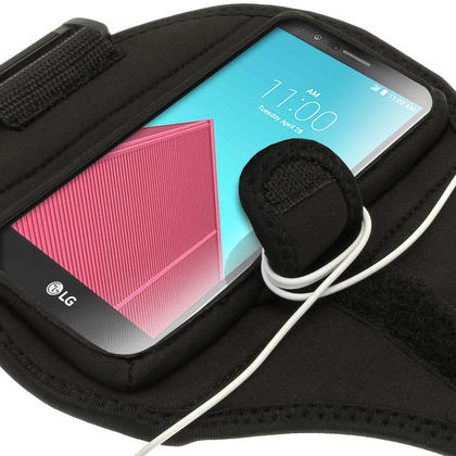 iGadgitz Water Resistant Black Sports Jogging Gym Armband for LG G4 H815 (2015) Thumbnail 3