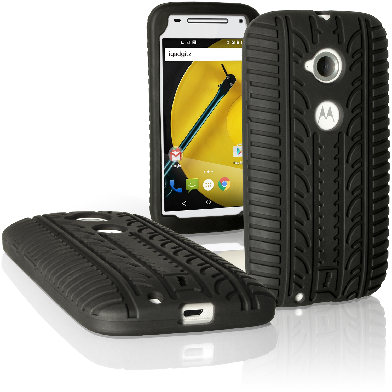 iGadgitz Black Tyre Tread Silicone Rubber Gel Skin Case Cover for Motorola Moto E 2 Generation XT1524 + Screen Protector