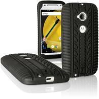 iGadgitz Black Tyre Tread Silicone Rubber Gel Skin Case Cover for Motorola Moto E 2 Generation XT1524 + Screen Protector