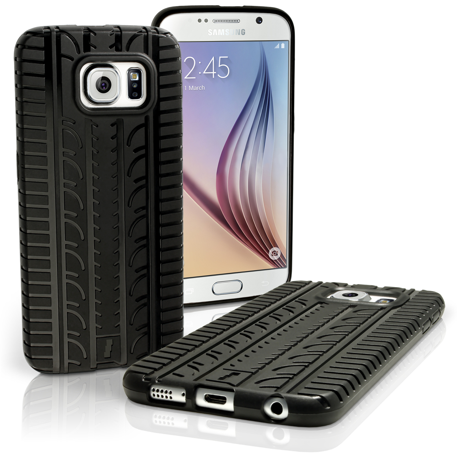 iGadgitz Black Tyre Tread TPU Gel Skin Case Cover for Samsung Galaxy S6 SM-G920 + Screen Protector