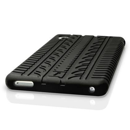 iGadgitz Black Tyre Tread Silicone Rubber Gel Skin Case Cover for Sony Xperia M4 Aqua E2303 + Screen Protector Thumbnail 2